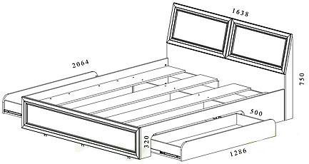 Схема двуспальной кровати с двумя ящиками