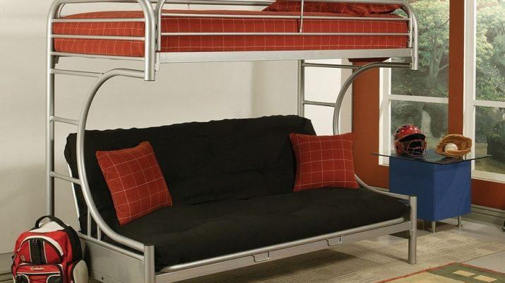 Детская двухъярусная кровать на алюминиевой основе с диваном