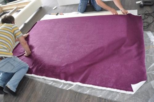 Заготовка с поролоном и обивочной тканью