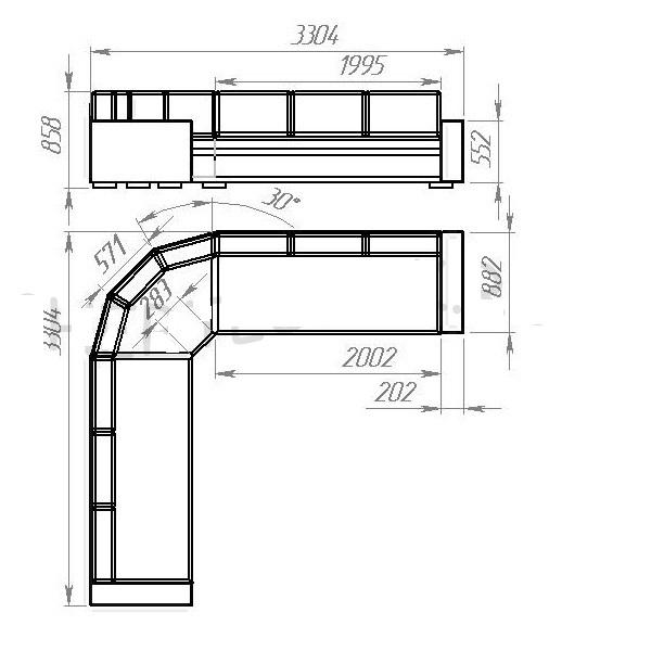 Схема скругленного дивана