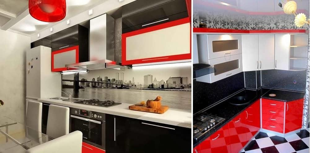 кухня в красно-бело-черном цвете фото упаковывать вещи кожаные