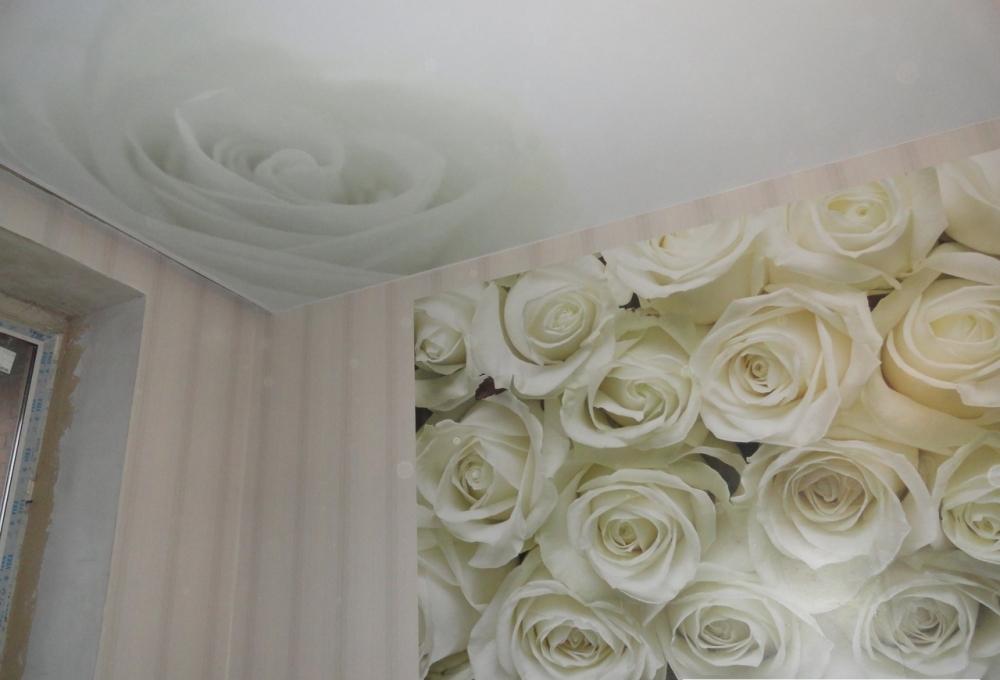 Натяжные потолки с розами фото