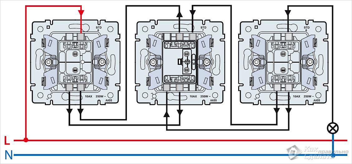 Подключение перекрёстного выключателя. Перекрёстный выключатель: для чего нужен и как его подключить