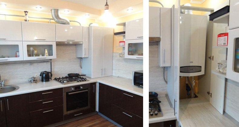 как спрятать газовый котел на кухне фото